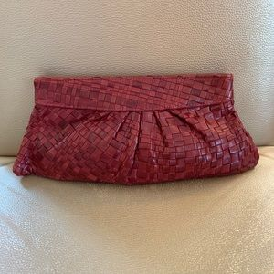 Lauren Merkin Red Leather Weave Clutch